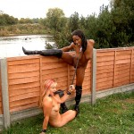 Ebony Cookie and her blonde amateur lesbian lover in public
